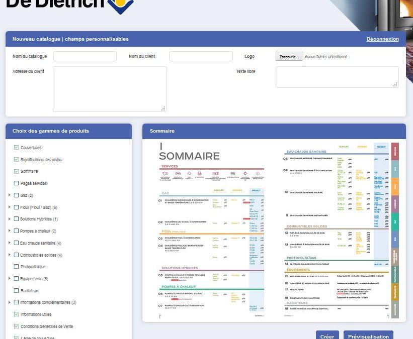 De Dietrich Thermique mise sur le catalogue digital personnalisé par client !